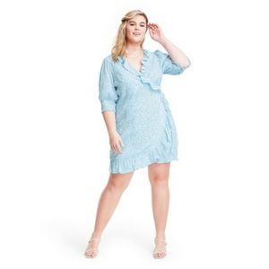 NWT Rixo Target blue white floral wrap dress 3X